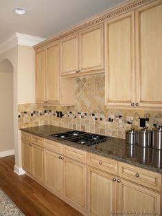 Kitchen Design Ideas Light Cabinets maple cabinets with subway tile backsplash and dark counters