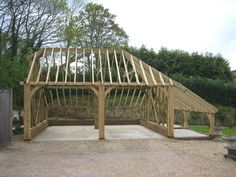 Exceptional Awesome Timber Frame Garage Plans Timber Frame Carports home decorating plans from our home expert, Maria Waard with 210 kB and 640 x Garage Plans, Car Garage, Timber Frame Garage, Gazebo, Pergola, Garages, Garden Bridge, Outdoor Structures, How To Plan