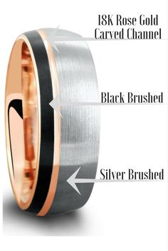 Finally! A unique mens wedding ring. This tungsten carbide wedding band is three toned. 18K rose gold, silver, and back. Brushed textured top and rose gold carved channel running through the top of the ring. I love this mens modern wedding band.