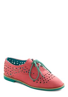 Stand Out and Smile Flat in Coral - Orange, Pink, Blue, Color Block, Cutout, Casual, Urban, Spring, Colorblocking