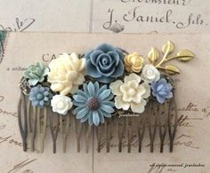 Hey, I found this really awesome Etsy listing at https://www.etsy.com/jp/listing/189581989/blue-wedding-hair-accessories-blue-gray
