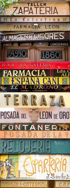Poppytalk - The beautiful, the decayed and the handmade: Dispatches from Spain: Vintage Typography Vintage Typography, Typography Letters, Typography Design, Hand Lettering, Spanish Classroom, Teaching Spanish, Vintage Signs, Vintage Posters, Madrid