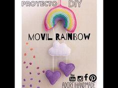 Movil Rainbow tejido al Crochet. Crochet Videos, Crochet For Beginners, Amigurumi Doll, Change Colour, Baby Toys, Crochet Projects, Lilac, Crochet Earrings, Balloons
