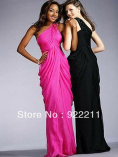 Romantic Pink/Black Chiffon Beading One Shoulder Evening Party Dress $166.87