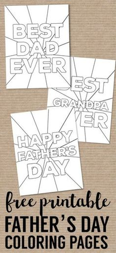 Happy Father's Day Coloring Pages Free Printables. DIY easy Father's Day ideas. Fun present from kids. Best Dad Ever with Grandpa card. #papertraildesign #fathersday #fathersdayidea #fathersdaygift