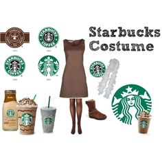 """Starbucks Costume"" by kittibubbles on Polyvore Pair Costumes, Cute Costumes, Group Costumes, Costume Ideas, Halloween Looks, Fall Halloween, Halloween Party, Holiday Costumes, Family Halloween Costumes"