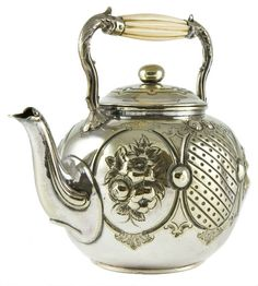 antique teapots | Antique Brass and Ivory Teapot with Floral Engravings, ... | Teapots