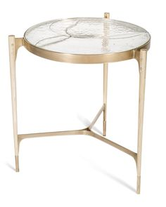 Stites Side Table  MidCentury  Modern, Rustic  Folk, Glass, Metal, Wood, Side Table by John Pomp