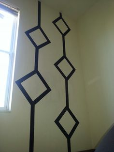 Duct tape wall art! Great for apartment living! This is my master bedroom