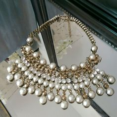 Gold Rhinestone and Pearl statement necklace Chunky statement piece. All jewels intact. unknown Jewelry Necklaces