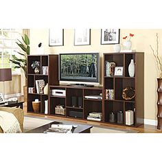 Cappuccino Plasma Lcd Tv Stand Entertainment Console With Shelves