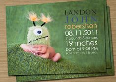Baby Boy Birth Announcement Baby Girl Birth by CardsEtcetera, $15.00  I love this alien!!