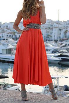 Maxi Skirt Style, Midi Flare Skirt, Backless Maxi Dresses, Striped Maxi Dresses, Pink Ruffle Dress, Bohemia Style, Little Dresses, Beautiful Dresses, Fashion