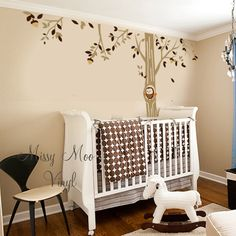 Vinyl Wall Decal Forest Owl Friend Tree Baby by missymoovinyl, I like this for my hallway
