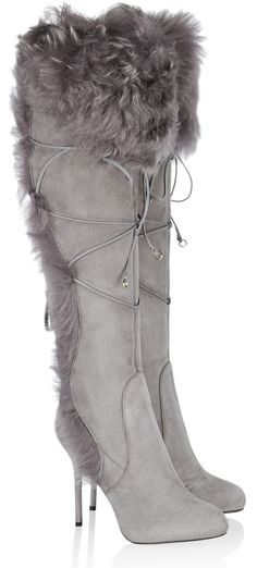 Sergio Rossi Shearling-lined suede knee boots | cynthia reccord