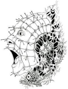 Pinhead pen and ink by ~SonOfSamhain on deviantART Pencil Sketch Images, Horror Movie Tattoos, Batman Drawing, Flame Art, Horror Artwork, Halloween Illustration, Horror Icons, Dark Tattoo, Arte Horror
