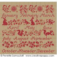 Red sampler calendar  PERRETTE SAMOUILOFF