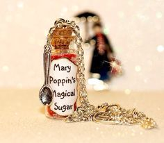 Mary Poppins Spoonful of Sugar Necklace with a spoon charm ~ Great for Disney bounding or cosplay! Mary Poppins Spoonful of Sugar Necklace, perfect for adding a bit of magic to any outfit! It will also make a wonderfully unique one of a kind gift! Bottle Jewelry, Bottle Charms, Bottle Necklace, Magic Bottles, Mini Glass Bottles, Disney Necklace, Disney Jewelry, Mary Poppins Musical, Fairy Crafts