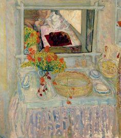 By Pierre Bonnard, 1913, Toilette au bouquet rouge et jaune (Dressing table and mirror), oil on canvas, Museum Of Fine Arts, Houston.