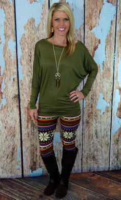 Long Sleeve Dolman Top: Olive