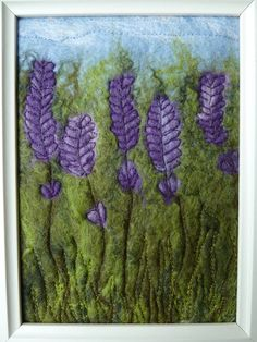 SALE Lavender Felted Picture by SewCraftyLou on Etsy, £18.00  Will try Fireweed like this....