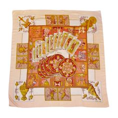 """Rare Hermes   Annie Faivre,""""Le Tarot"""" Mythology Fantasy Cashmere Scarf 