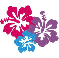 Three Hawaiian Flowers Machine Embroidery Design File Instant Download by LaurasCraftedCrochet #etsy #machineembroidery #embroidery #design #file #instantdownload # hawaiian #flowers #three #hibiscus #colorful #luau