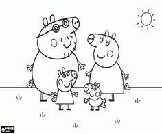 desenho de Caminhada da família Peppa Pig para colorir