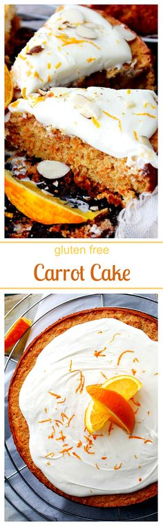 Carrot Cake - Flourless, moist, and delicious carrot cake frosted with a delicate and creamy mascarpone frosting.