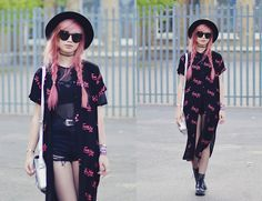 Get this look: http://lb.nu/look/7535498  More looks by Amy Valentine: http://lb.nu/amyvalentinex  Items in this look:  Lazy Oaf Fuck Yes Shirt Dress, Ark Mesh T Shirt, Boohoo Strappy Bralet, She Inside Shredded Black Denim Shorts, Urban Outfitters Black Fedora, Zero Uv Oversized Cat Eye Sunglasses, Dr Martens Snake 1460 Boots   #artistic #casual #grunge