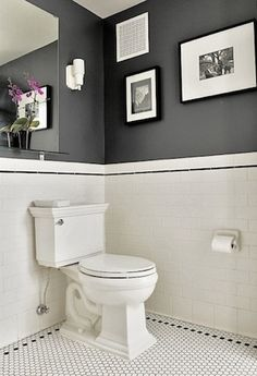 White Bathroom Wall Paneling: 49 Simply Black And White Tile Bathroom Decor Ideas Bathroom Wall Colors, Bathroom Tile Designs, Bathroom Interior Design, Small Bathroom, Bathroom Grey, Black Bathroom Floor, 1930s Bathroom, Bathroom Yellow, Bathroom Artwork