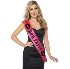 """A hot pink satin sash that reads, """"Bride to Be"""" with black hearts.) Bride To Be Sash, Bachelorette Sash, Bachelorette Party Sashes Bachelorette Party Sash, Bachelorette Party Supplies, Bachelorette Ideas, Bride To Be Sash, Hen Party Accessories, Halloween Accessories, Wedding Sash, Wedding Dinner, Dream Wedding"""