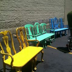"Upcycled chair benches! this might work for my arm chairs since my ""wonderful"" husband broke one of the arms off!"