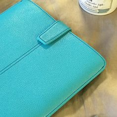 Teal Blue Vegan Leather 'Screen Cleaning' iPad Air sleeve case, with antimicrobial lining
