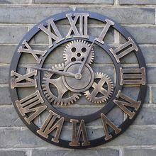 Handmade Oversized retro 3D rústico decorativo arte luxo grande engrenagem de madeira vindima grande relógio de parede na parede para o presente de 20 polegadas(China (Mainland))