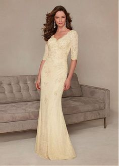 271d4cb9e0 Junoesque Lace V-neck Half Sleeves Floor-length Mother of the Bride Dresses