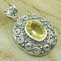 2 photons gifted~Citrine gem Pendant in 925 sterling 1-7/8 inches