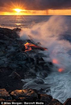 Vivid vistas: Kilauea's lava can travel the six-mile route from the crater to the sea in around four hours    Read more: http://www.dailymail.co.uk/news/article-2121803/Kilauea-Photographer-risks-life-amazing-shots-worlds-active-volcano-Hawaii.html#ixzz1qW7KRlNY