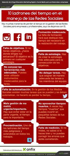#Infografia 10 ladrones del tiempo en la gestión de #RedesSociales #TAVnews