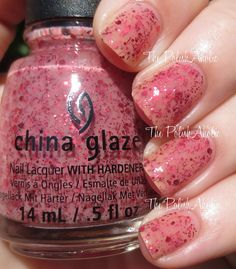 The PolishAholic: China Glaze Halloween 2014 Apocalypse of Color Collection Swatches & Review  - Don't Let The Dead Bite is a nude-pink jelly base with pink/red glitter. This was meant to look like blood splatter, I think it does a pretty good job of that. The formula was good, it was on the sheer side on the first coat but good with the second coat. I could still see some visible nail line with 2 coats but it wasn't bothersome, 3 coats would cover it right up if you don't like it.