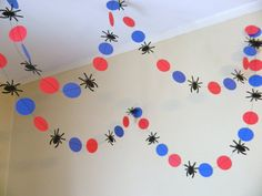 Fiesta temática Spiderman Garland- Papel Garland- Spiderman Cumpleaños Decoración- Spiderman Decor-10 pies Garland-Niños Room Decor