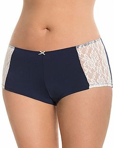 Our Dazzler boyshort  panty gets an ultra-feminine new look with sheer lace sides for flirty contrast. Featuring a longer leg and full back coverage, this smooth, silky microfiber panty offers amazing comfort and a fit that won't ride up. lanebryant.com