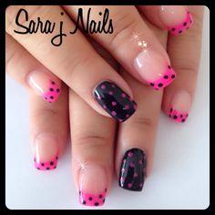 Polka Dot Acrylic Nail Design