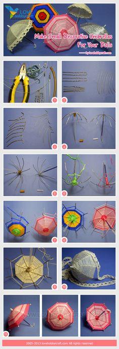 Make small decorative umbrellas for your dolls