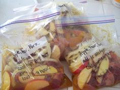 A to Z for Moms Like Me: Crockpot Freezer Meals - Apple, Pear & Pork… Crock Pot Freezer, Freezer Cooking, Crock Pot Cooking, Freezer Meals, Cooking Food, Bulk Cooking, Freezer Recipes, Chicken Freezer, Dump Recipes