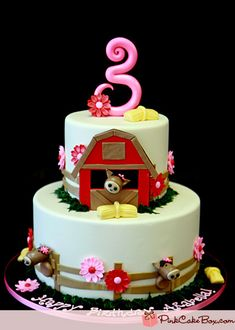 Farm Animal 3rd Birthday Cake by Pink Cake Box