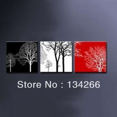 MODERN ABSTRACT WALL CANVAS ART OIL PAINTING black white red TREE