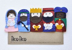 IKO Felt Nativity Finger puppets –Toy Manger Puppet – Set of 5 - Mary and Jesus, José, Magi - Christmas Crib