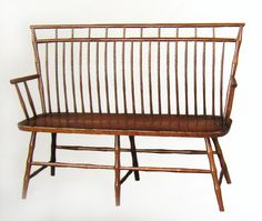 """birdcage Windsor bench - solid hardwood chairs and benches - (oak, maple, cherry) - www.braunfarmtables.com  Prices starting at $650 for a 51"""" wide bench."""