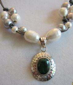 925 Sterling Silver and Indian Emerald by PearlnLeatherJewelry, $40.00